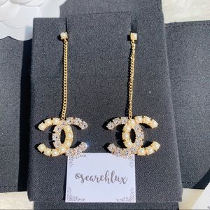 ✨CHANEL CC Drop Earrings with Pearls & Crystals✨